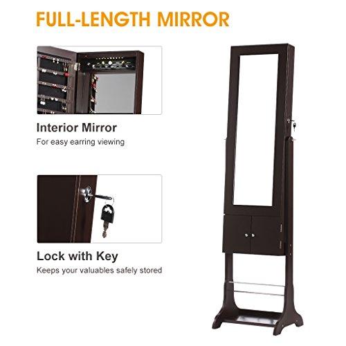 LANGRIA Free Standing Lockable Jewelry Cabinet FullLength