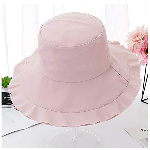 Women Cotton Sun Hats Folding Lady Beach Hat Wide Brim Sunhat Breathable Spring Summer Double-Deck Fold Hat Brim,Pink,56 58cm]()