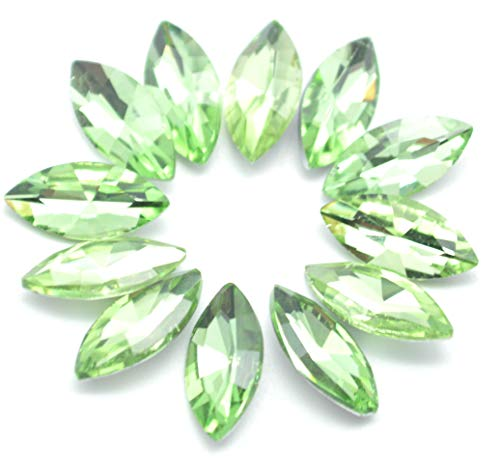 - Catotrem Horse Eye Shape Crystal Clear Glass Rhinestones Pointback Fancy Stones Inlay for Necklace Wedding Dress Decorations7x15mm(50pcs-Green)