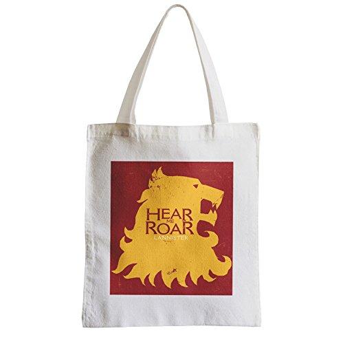 Große Tasche Sack Einkaufsbummel Strand Schüler Of Thrones Lannister Hear Me Roar Lion
