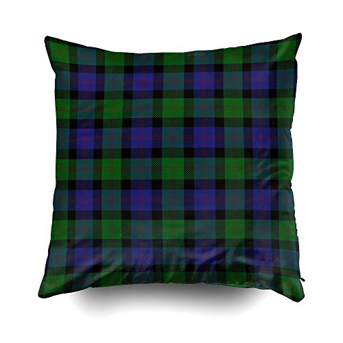 EMMTEEY Home Decor Throw Pillowcase for Sofa Cushion Cover, Halloween Scottish Clan Blair Tartan Decorative Square Accent Zippered and Double Sided Printing Pillow Case Covers 20X20Inch