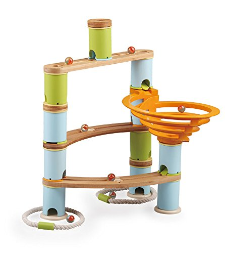 Fat Brain Toys 78 pc Bamboo Builder Marble Run]()