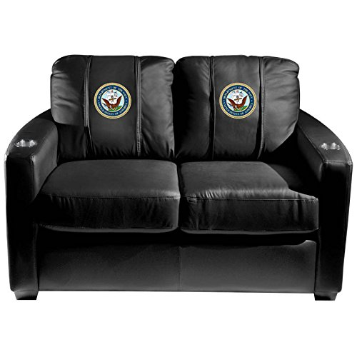 XZipit Armed Forces Silver Loveseat with Navy Insignia Logo Panel, Black