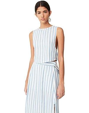 Mango Women's Striped Linen Top