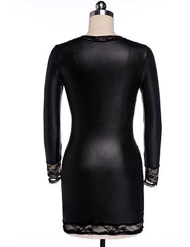 PU Lingerie Indumenti Medio black da Pizzo donna one Sexy black notte HJL di vestitini pizzo e da Vernice notte Poliuretano Camicie Da size xvwPH6Oq0a