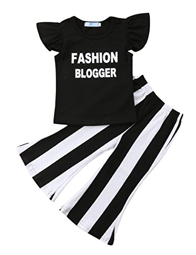 Little Girls Ruffle Fly Sleeve Fashion Blogger T-Shirt Top Striped Bell-Bottom Flare Pants Outfit Set (1-2Y, Black)
