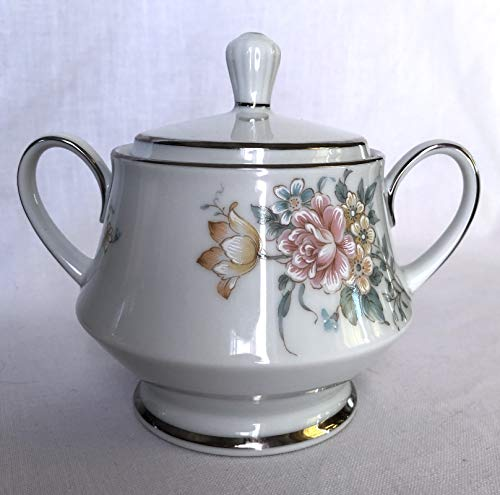 Contemporary by Noritake Coquet Pattern Sugar Bowl with Lid Platinum Trim