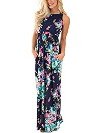 Women's Floral Print Sleeveless Long Maxi Casual Dress