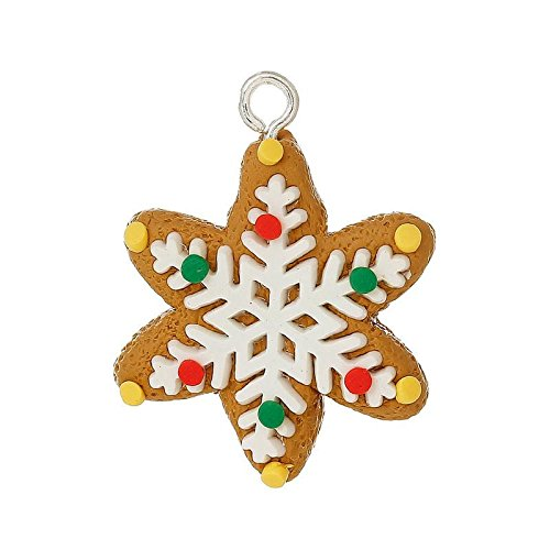 Lot of 2 PCs Polymer Clay Charm Christmas Snowflake Earth 3.5x2.7cm - 3.4x2.6cm LC4536 Vintage Crafting Pendant Jewelry Making Supplies - DIY for Necklace Bracelet Accessories by CharmingSS ()