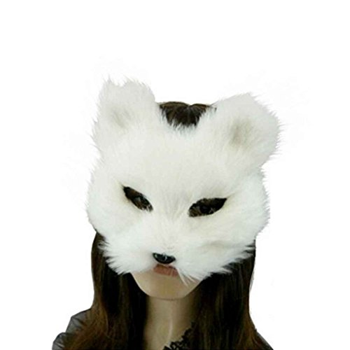 White Eye Contacts For Halloween (Omkuwl Cosplay Fox Half Face Masks Costume Masks for Masquerade Halloween Theme Party white)