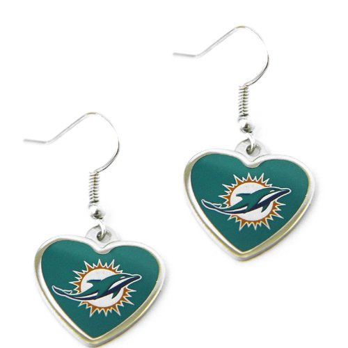 Sports Team Miami Dolphins Non-Swirl Heart Shape Dangle Earring ()