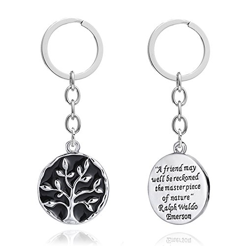 A friend may well be reckoned the masterpiece of nature - Double Side Key Chain Ring BBF Best Friend Gift