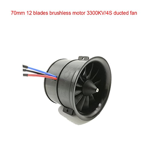 Powerfun EDF 70mm 11 Blades Ducted Fan with RC Brushless Motor 3300KV Balance Tested for EDF 4S RC Jet Airplane