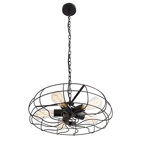 - Ceiling Light, MKLOT Industrial Fan Style Wrought Iron Semi Flush Mount 18.11 Wide Ceiling Pendant Light Chandelier with 5 Lights Chain - Environmentally Ceramics Caps