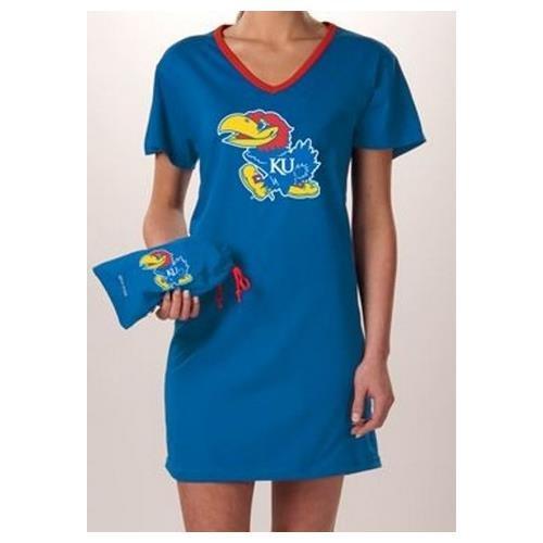 Kansas Jayhawks KU NCAA Ladies Nightshirt Sleepwear With Carrying Bag Small / (Mascot Bag Small)