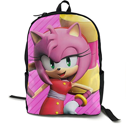 Amy Rose Sonic Boom (Angela R Mathews Sonic Boom-Amy Rose Anime Cartoon Cosplay Canvas Shoulder Bag Backpack Cool Lightweight Travel Daypacks School Backpack Laptop)