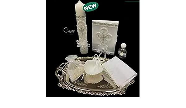 ... Boy, or Unisex : Candle, Bible, Dry Cloth, Sea Shell, Rosary and Holy Water Bottle Silver Tray–Bautizo Religious Gift (Silver): Health ...