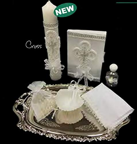 English Handmade Christening/Baptism White Trim Holy Cross Set for Girl, Boy, or Unisex : Candle, Bible, Dry Cloth, Sea Shell, Rosary and Holy Water Bottle Silver Tray–Bautizo Religious Gift (Silver)