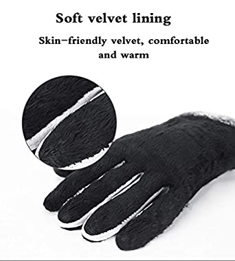 Men Leather Gloves Thick Touch Screen Mittens Waterproof Fleece Lining Yuntown