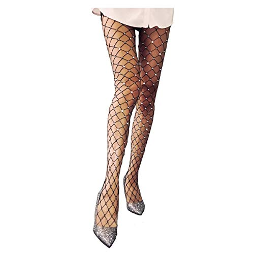 Rhinestone Fishnet Tights Pantyhose Women - Sparkle Sexy Crystal Net Stockings Stretchy Hollow Out Mesh Hosiery ()