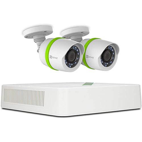 EZVIZ HD 720p Outdoor Surveillance System, 2 Weatherproof HD Security Cameras, 4 Channel 1TB DVR Storage, 100ft Night Vision, Customizable Motion Detection