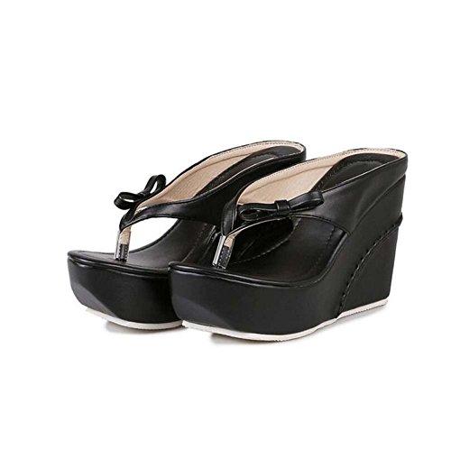 Fiesta Negro y Chanclas y Blanco Zapatillas con Negro para Mujer 35 Novia Vestido 39 Noche SHINIK Rosa Talla Cuña de v4qOnAA