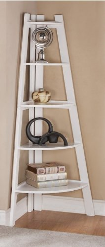 White Finish 5 Tier Corner Display Unit Shelf / Rack F04040