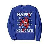 Unisex Marvel Spider-Man Happy Holidays Ugly Christmas Sweatshirt Medium Royal Blue