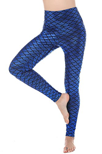 Women Sexy Mermaid Fish Scale Hologram Stretch Soft Shine Leggings (Large, Dark Blue (High Waist)) ()