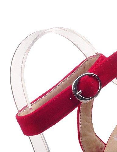 Casual Heel Chunky Schwarz Kleid Samt Sandalen ShangYi Karriere Heels Rot Damenschuhe Büro Plateau CvqtwRg