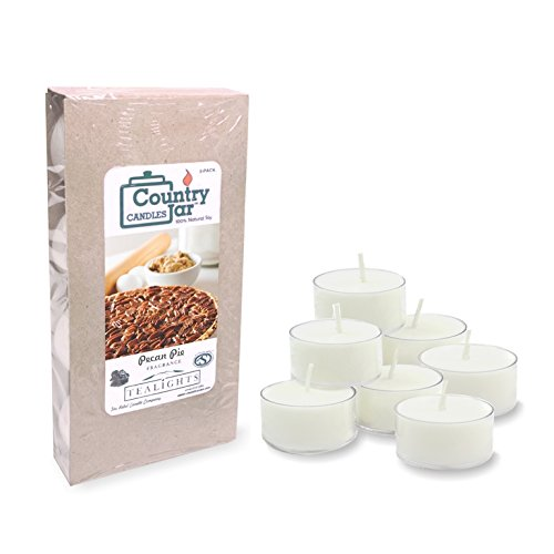 Country Jar PECAN PIE Soy Tea Lights - (8-Pack) Candles Made with PREMIUM USA Grown Natural SuperSoy Wax