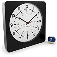 MARATHON CL030057BK-WH1 Large 12-Inch Analog Wall Clock with Auto-Night Light & Silent Sweep