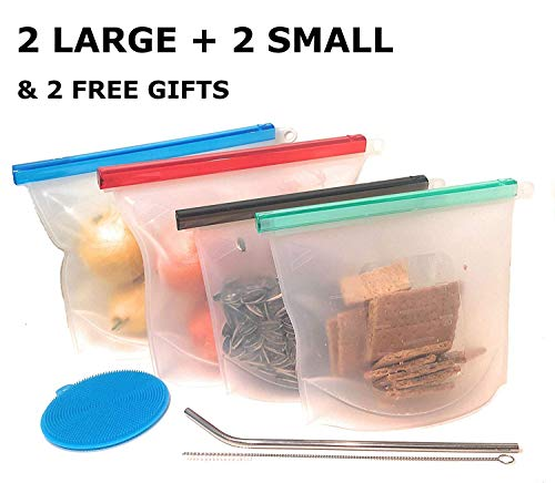URTH Reusable Silicone Food Storage Bags | Sandwich Sous Vide Liquid Snack Lunch Fruit Freezer Airtight Seal | BEST for preserving and cooking | 2 Large 1500ml amp 2 small 1000ml  free gifts