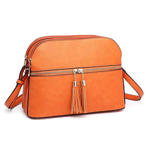 - Dasein Women Tassel Zipper Pocket Crossbody Bag Shoulder Purse Fashion Travel Bag with Multi Pockets (Orange)