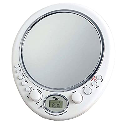 NEW Pyle PSR9 Fog Free Shaving Mirror w/AM/FM Radio & Clock, Water Resistant from Shower Radios