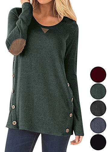 (Calvin&Sally Womens Casual Cotton Blouse Long Sleeve Soild Color Round Neck Tunic Tops Bottons (Green)