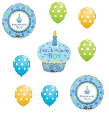 1 1st BOY Birthday SWEET CUPCAKE Dot Party BALLOON SET