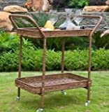 "Outdoor Bar Cart, Serving - 32"", Wicker, Honey"