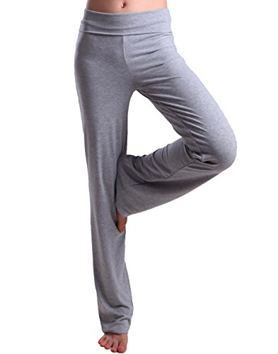 HDE Foldover Athletic Yoga Pants Gym Workout Leggings (Light Gray, XX-Large)