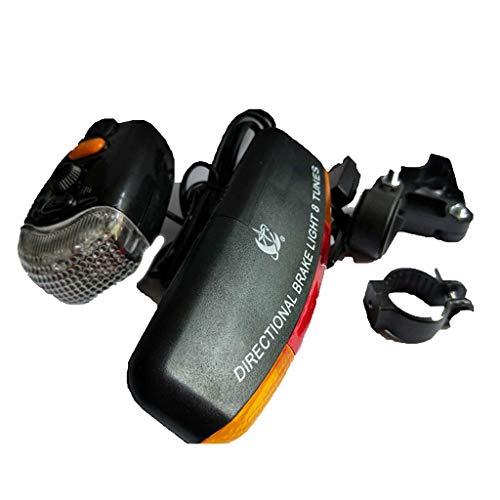 LED Bicycle Bike Turn Signal Directional Brake Light Lamp 8 Sound Horn (Free, Black)