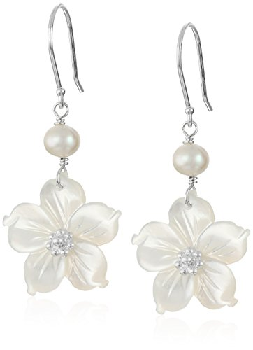 White Mother-of-Pearl Flowers with White Freshwater Cultured Pearl Accents Drop Earrings