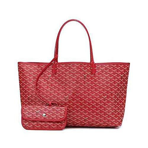 Vnlig One Shoulder Portable Ladies Fashion Shopping Shoulder Bag Handbag Set with Large Shopping Bag New Microfiber Handbag (Color : Red)