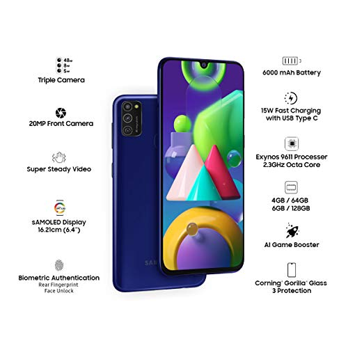Samsung Galaxy M21 (Midnight Blue, 4GB RAM, 64GB Storage) Discounts Junction