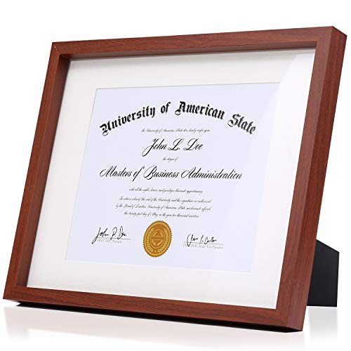 Modern Mahogany Brown Diploma Frame Solid Wood 11x14 with Adhesive Wall Hooks, Nail Hooks, 2 White Mats Sized: 8.5x11 or 8x10 for Documents, Degrees, Certificate, Photo, Pictures, Tempered ()