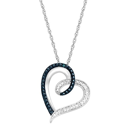 - Heart Pendant Necklace with Blue and White Diamonds in Sterling Silver, 18