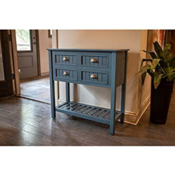 Amazon Com Simplify 3 Drawer Classic Design 30 Quot Tall Console Table Honey Pine Kitchen Amp Dining