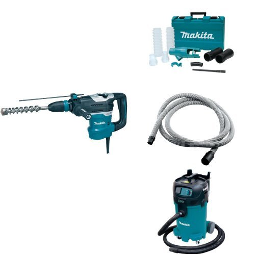 Makita HR4013C 1-9/16-Inch Advanced AVT Rotary Hammer, 196537-4 Dust Extraction Attachment, 192108-A 3/4-Inch by 10-foot Vacuum Hose, VC4710 12 Gallon Xtract Vac Wet/Dry Dust Extractor/Vacuum