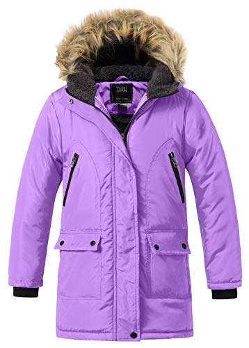 - ZSHOW Boy's and Girl's Padded Winter Puffer Jacket Mid-Long Thicken Warm Hooded Outwear Coat (Light Purple, 6/7)