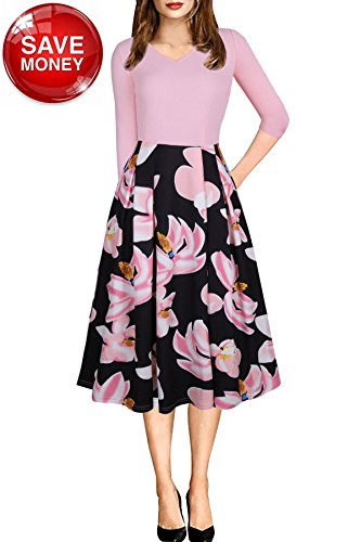 (Aline Floral Dress for Women Work Office Casual Flared 3/4 Sleeve Pocket Mid Length Dress Pink Small)