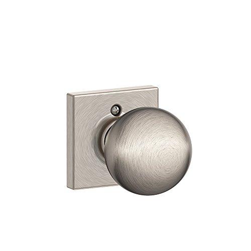 Orbit Knob with Collins Trim Non-Turning Lock, Satin Nickel (F170 ORB 619 COL)